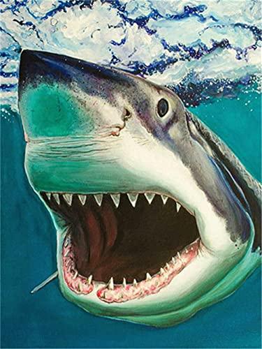 Kit de Pintura de Diamante 5D, Tiburón lindo 70x100cm DIY Diamond Painting Kit Punto de Cruz Diamante Cristal Pinturas Rhinestone Bordado Artes Manualidades Decoración de Pared del Hogar