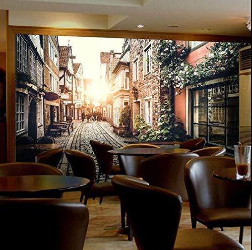 Europese stad straat tv achtergrond muur opknoping schilderijen, woonkamer koffie winkel decoratie grote muurschildering 3D oude tijd 200×175cm 200×175cm