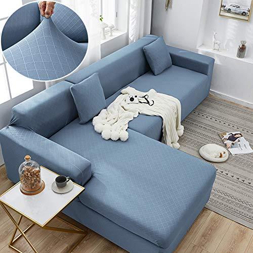 Sofa Überwürfe L Shaped Sofabezug Für Pet Protector Couch Sofa Slip Cover Sofahusse Sofa Stretch 1 2 3 4 Sitze Sofatuch-Hellblau 3+4 Sitzer