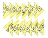Boolavard Coton, 1er 6 ou 12 Pack Bandanas avec motif Paisley original | Couleur au choix (12 Jaune)