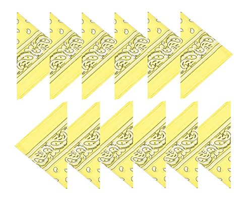 Boolavard 100{fcee0d51c963859f5e7c20dd9ecfc01f62956f30e3164b27fe1679612bfdbb76} Baumwolle, 1er 6er, oder 12er Pack Bandanas mit original Paisley Muster   Farbe nach Wahl Headwear/Haar Schal Ansatz Handgelenk Verpackungs Band Kopf Bindung (12er Gelb)