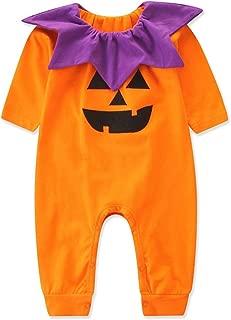 BANGELY Baby Boys Girls Halloween Pumpkin Face Romper Jumpsuit Halloween Cosplay Costumes Long Sleeve One-Piece Playsuit
