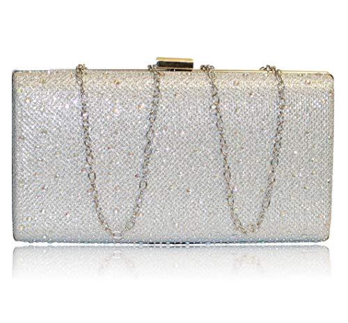 Rock on Styles Damen Pumps mit Strasssteinen, Knöchelriemen, Flacher Bockabsatz, Größe 525, Silber - Silver Bag - Größe: One Size