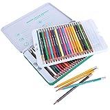 HEEPDD Matite Colorate, Confezione da 48 Soluzioni per Studenti Set di Matite Coloranti Solubili in Acqua con Scatola di Metallo per Libri da Colorare per Adulti