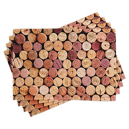 ABAKUHAUS Vino Tovaglietta Americana Set di 4, Casuale utilizzato Sugheri del Vino, Tovagliette in Tessuto Lavabile per Tavolo da Pranzo Cena, Senape Mauve Maroon