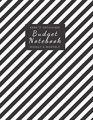 Budget Notebook: Monthly and Weekly Budgeting Workbook for Organizing Finances Black and Diagonal White Stripes