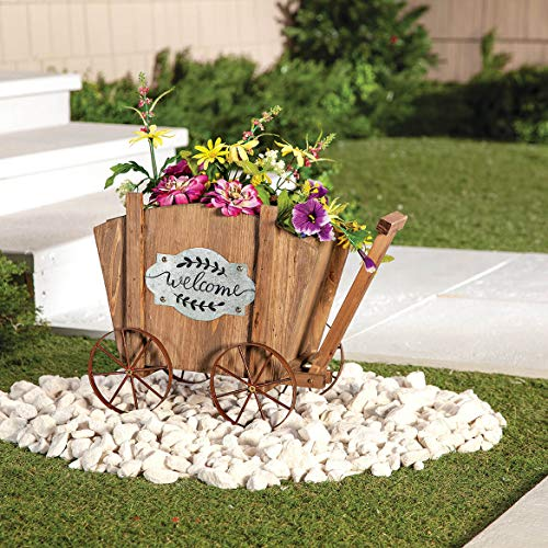 Welcome Wagon Wooden Planter Box, Amish Wagon Decorative Indoor/Outdoor Planter