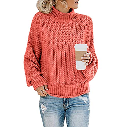 KEYIE Sweater for Women Knitted Loose Long Sleeve Pullover Turtleneck Casual Elegant Sweatshirt