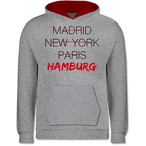 Städte & Länder Kind - Weltstadt Hamburg - 128 (7/8 Jahre) - Grau meliert/Rot - Hamburg - JH003K - Kinder Kontrast Hoodie