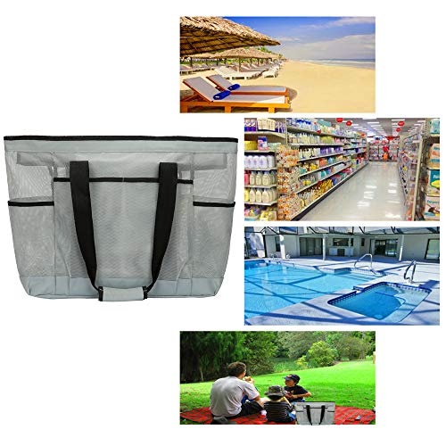 Mesh Beach Bag -Extra Large Beach Tote Bag - Grocery & Picnic Tote Travel Bags Grey