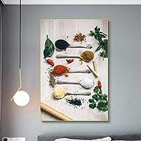 壁の芸術の写真現代の壁の芸術のキャンバスの絵画台所の装飾のための台所スパイスのポスター抽象的な絵壁の絵画60x80cmフレームなし