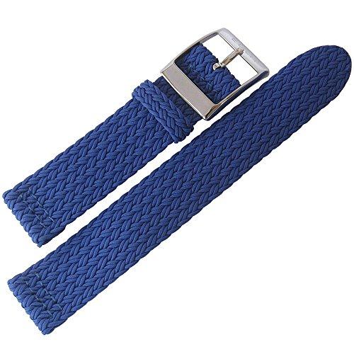 Eulit Palma Pacific - Cinturino per orologio in perlon, 20 mm, colore: blu...