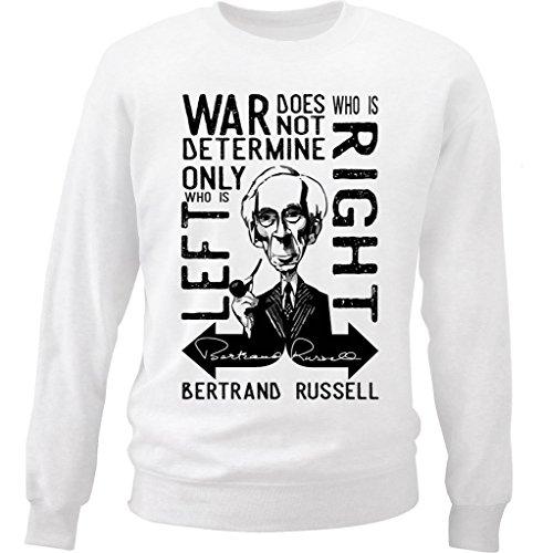teesquare1st Men's Bertrand Russell War Quote White Sweatshirt Size XXLarge