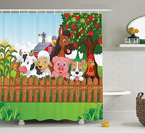 N/A Kinder-Duschvorhang, Cartoon, Kollektion von süßen Bauernhof-Tieren auf dem Zaun Comic Maskottchen mit Hund Kuh Pferd für Kinder, Stoff Badezimmer Duschvorhang Multi 152,4 x 182,9 cm