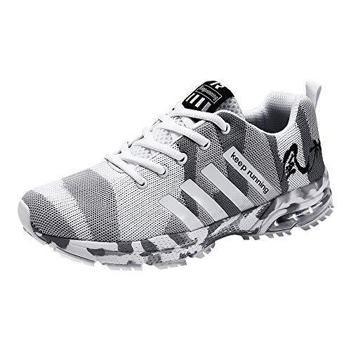 Logobeing Zapatillas Deporte Hombres Running Zapatos Hombre Deportivos Casuales Zapatillas Running Hombre Auriculares Correr en Asfalto Calzado Deportivo Hombre(42,Blanca)