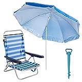LOLAhome Pack de Silla con sombrilla de Playa y Soporte de Aluminio y textileno (Azul y Blanco)