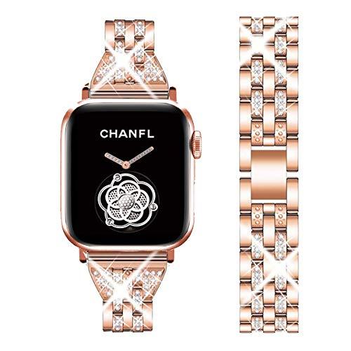 Delele - Correa de repuesto para Apple Watch Series 3/2/1, 38 mm, 42 mm, diamantes de imitación de lujo, de acero inoxidable, para reloj iWatch, serie 3/2/1, para mujeres y hombres