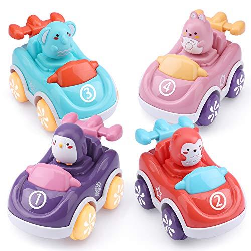 Coches de Juguete para niños pequeños, 4 Piezas de Juguetes de Coche con Motor de fricción para Empujar y Llevar, Regalos para niños, niñas, 1 2 3 años de Edad