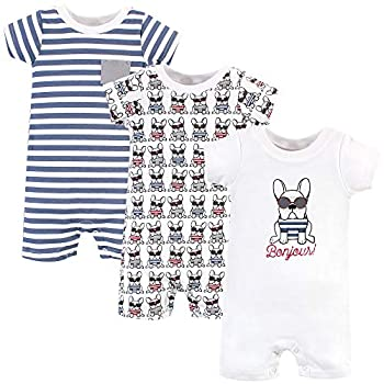 Hudson Baby Unisex Cotton Rompers French Dog 6-9 Months