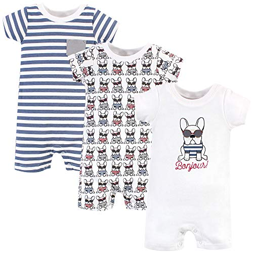 Hudson Baby Unisex Baby Cotton Rompers, French Dog, 6-9 Months