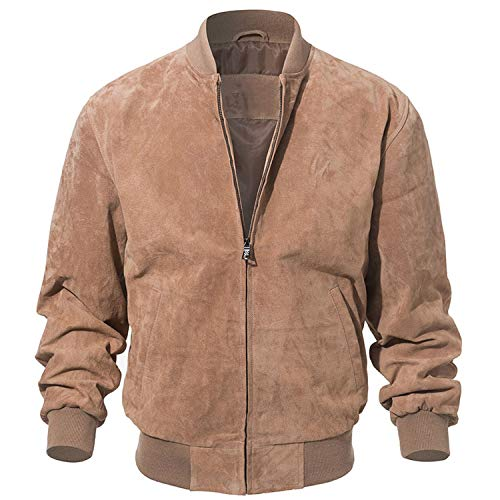 Men Classic Pigskin Coat Genuine Baseball Bomber Leather Jacket