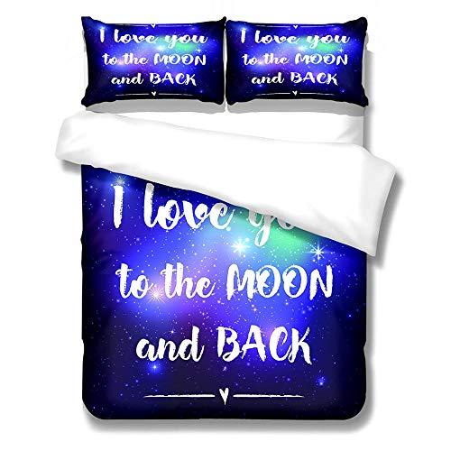 QHDXL Funda Nordica Cama 150cm Amor Azul Juego de Ropa de Cama 1 Microfibra Funda Nórdica y 2 Fundas de Almohada 50x75,Fundas Nórdicas Suave y Transpirable