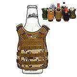 SINAIRSOFT Beer Vests Beverage Cooler Tactical Mini Molle Adjustable Shoulder Straps Beverage Holder for 12oz or 16oz Cans and Bottles Digital Desert