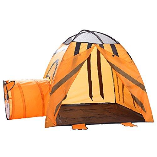 Milageto Tenda da Gioco Portatile 2-in-1 per Bambini da Interni Ed Esterni con Grande Casetta E Tunnel - Arancia, 2 in 1 Tigre