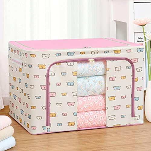 Syina Caja de almacenamiento plegable de tela Oxford con marco de acero, mango reforzado, tejido grueso con cremallera resistente, ventana transparente para edredones, ropa, sábanas, mantas