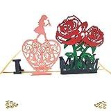 Biglietto D'auguri Pop-Up 3D Carta Festa della Mamma Carta di Compleanno Biglietto di Ringraziamento per Compleanni, Festa della Mamma, Ringraziamento - I Love MOM