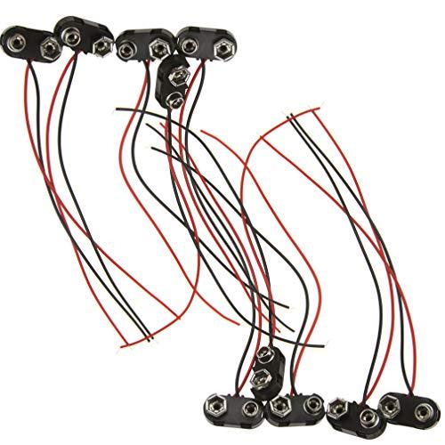 10 conectores de clip de batería de 9 V con cable de plomo duro ABS batería Snap