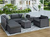 STARTO Patio Furniture Sets, 8-Piece All Weather Outdoor Wicker Sectional Couch Conversation Sofa with Cushions, Armchairs, Ottoman and Coffee Table, Gray