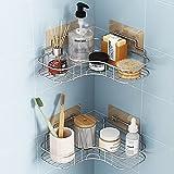 Coidak 2 Pack Shower Corner Caddy Bathroom Hanging Shelf with 4 Traceless Adhesive Hooks, No Drilling Shower Caddy Basket Corner Shelf Stand Storage Organizer for Bathroom Kitchen Toilet