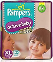 Pampers Active Baby Taped Diapers, Extra Large size diapers, (XL) 32 count, taped style custom fit