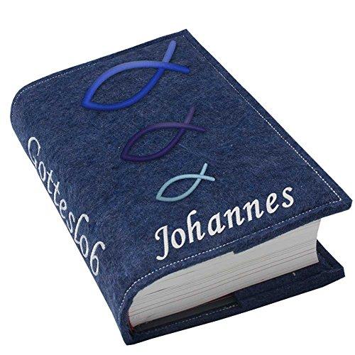 Gotteslob Gotteslobhülle Hülle Fische blau Filz mit Namen bestickt Einband Umschlag personalisierte Gesangbuchhülle, Farbe:dunkelblau meliert