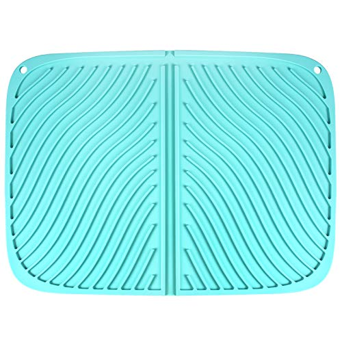 Zenbo Dish Drying Mats for Kitchen 16 x 18 Inch Kitchen Water Filter Mats Silicone Light Blue