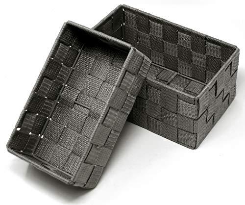 Lashuma, cestini aperti, confezione da 2 pezzi, dimensioni: 19 x 10 x 7 cm e 20 x 13 x 10 cm, colore grigio
