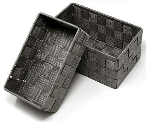 Lashuma Offene Aufbewahrungskörbe 2er Pack, Korb Größen: 19 x 10 x 7 cm und 20 x 13 x 10 cm, Graue Badezimmer Körbchen