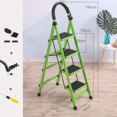 LRZLZY 4-Stufenleiter, Folding Stahl Küchen Schritt Hocker, Heavy Duty Stehleitern, Anti-Rutsch-Matte mit Gummihandgriff, 330lbs Kapazität (Color : Green)