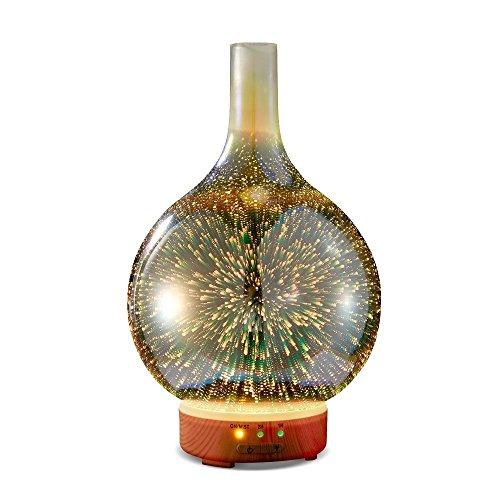 3D Glas Aroma Diffuser,120ml LED Luftbefeuchter Ultraschall, Ätherisches Öl Diffuser,Elektrisch Duftlampe Öle Diffusor mit 7 Farben LED,Diffusor Aromatherapie für Babies Kinder Haus Yoga Büro