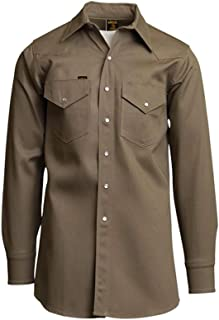 Lapco 850-MED-REG Mid-Weight Welder's Shirts, 100% Cotton, 8.5 oz, Medium Regular, Khaki