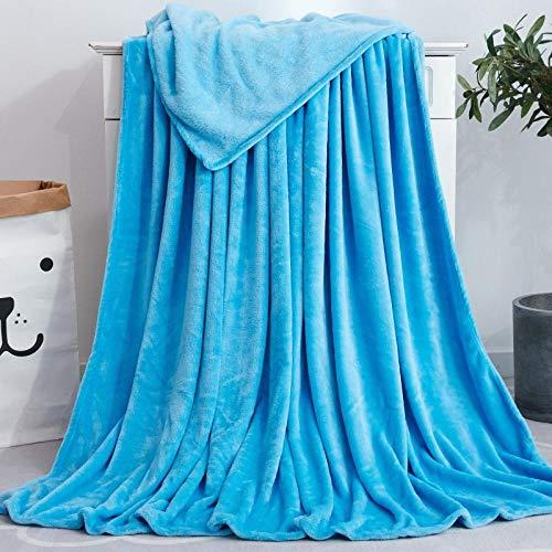 XUMINGLSJ Mantas para Sofás de Franela- Manta para Cama Reversible de 100% Microfibre Extra Suave -Los 200 * 230cm_Cielo Azul