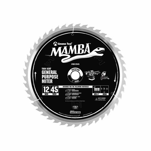 Amana Tool Mamba Series MA12045 General Purpose Miter 12-Inch x 45 Tooth x ATB+F Grind 1-Inch Bore Saw Blade
