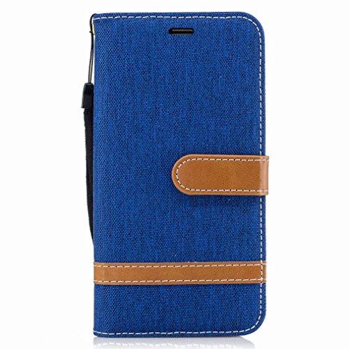 Yiizy Samsung Galaxy J5 (2016) / J510FN / J510F Cover Custodia, Modello del Cowboy Silicone Custodia Cover Portafoglio PU Pelle Cuoio Copertura Schede Cavalletto Stile Libro Protettivo Borsa (Blu)