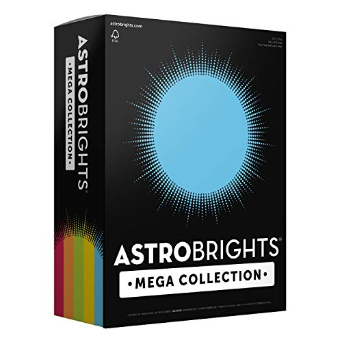 "Astrobrights Mega Collection, Colored Paper,""Classic"" 5-Color Assortment, 625 Sheets, 24 lb/89 gsm, 8.5"" x 11"" - MORE SHEETS! (91623)"