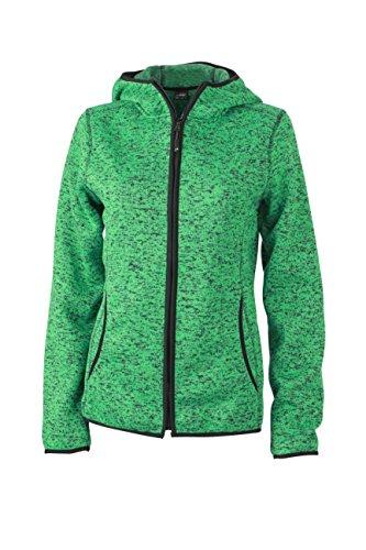 James & Nicholson Damen Sweatshirt Fleece Ladies'Knitted Hoody grün (Green-Melange/Black) XX-Large