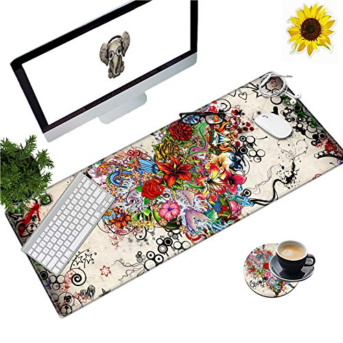 Extended Gaming Mouse Pad with Stitched Edges, Long XXL Mousepad (31.5x11.8) Desk Pad Keyboard Mat Water-Resistant for Work/Gaming/Office/Home, Koi Fish Flowers + Coasters and Stickers