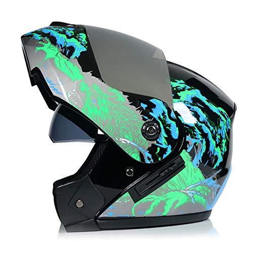 Mode Flip Up Klapphelm Helm Motorradhelm Integralhelm (S-XL) Mit Doppelvisier Versilberter Spiegel Für Damen Und Herren (B-L)