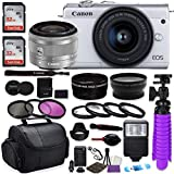 Canon EOS M200 Mirrorless Digital Camera (White) Premium Commander Optics Accessory Bundle with Canon EF-M 15-45mm is STM Lens (Silver) + CC2 Case + 64GB Memory + HD Filters + Auxiliary Lenses