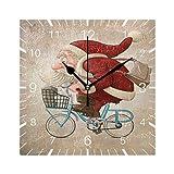 Mnsruu Merry Christmas Santa Claus Rides - Reloj de pared cuadrado de 7,9 pulgadas, funciona con pilas, silencioso de cuarzo para cocina, hogar, sala de estar, oficina, dormitorio (puntero negro)